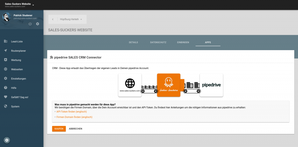 CRM Schnittstelle pipedrive